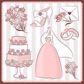 婚礼设计元素 — 图库矢量图片