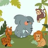 Cartoon animali selvatici nella giungla — Vettoriale Stock