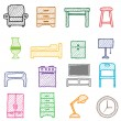 Hand drawing furniture icons — Stock Vector
