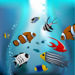 Cartoon tropical fishes — Stock Vector