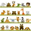 Cartoon animals (big set) — Stock vektor