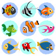 Stockvektor : Cartoon fish set