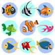 kreslená ryba sada — Stock vektor