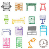 Hand drawing furniture icons — Vector de stock