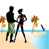 Beach flirting — Stock Vector