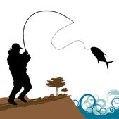 Fisher with big fish — Stock Vector