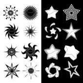 Star and sun symbols — Stock Vector