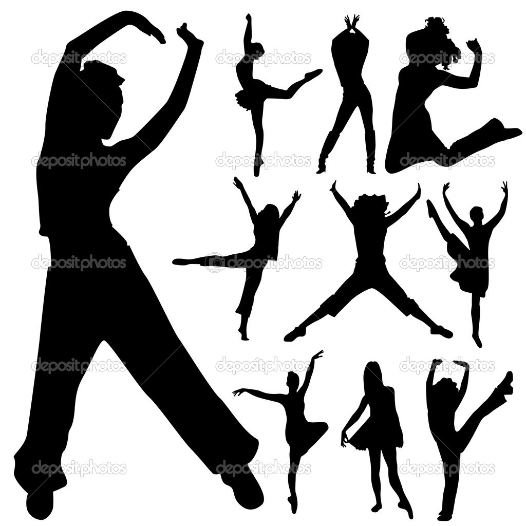 Dancing peoples silhouette vector — Stock Vector #10201341