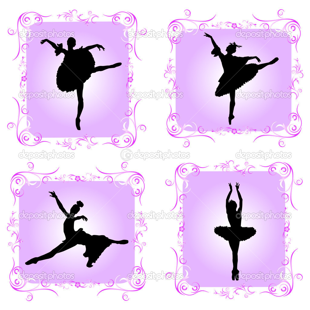 Ballet dancers with decorative frame — Stock Vector #10201833
