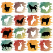 Big set of farm animals — Stock Vector