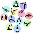 Yoga positions — Stock Vector
