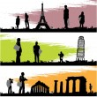Stock Vector: Tourism silhouette