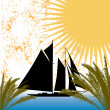 Tropical sailing — Stock Vector