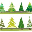 Stock Vector: Pine tree set