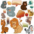 Wild animal with talking bubbles — Stock Vector