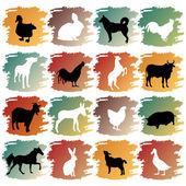 Big set of farm animals — Stock Vector