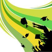 Graduation silhouette — Stock Vector