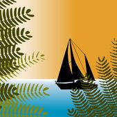 Tropical sailing — Stock Vector