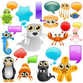 Marine life cartoon character — Vector de stock