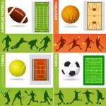 sportovní oblasti, míč a prvky návrhu — Stock vektor