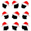 Santa claus red hat with face — Stock Vector