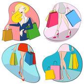 Shopping woman — ストックベクタ
