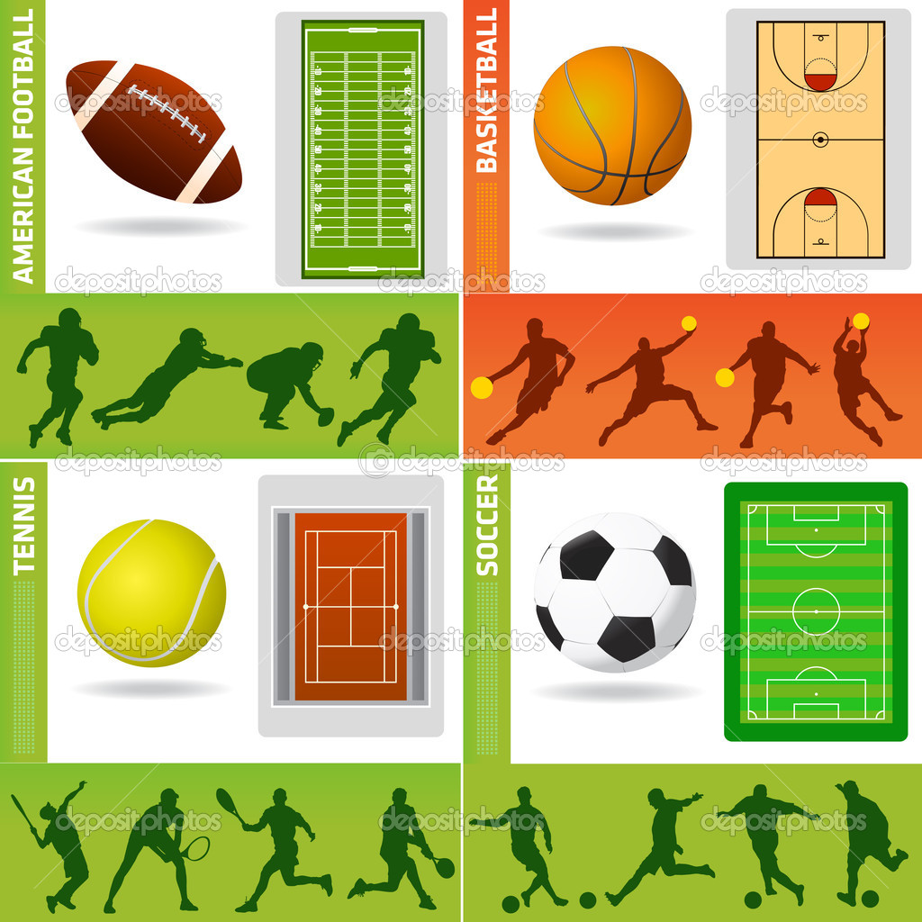 Sport field, ball and design elements vector — Stock Vector #10438126