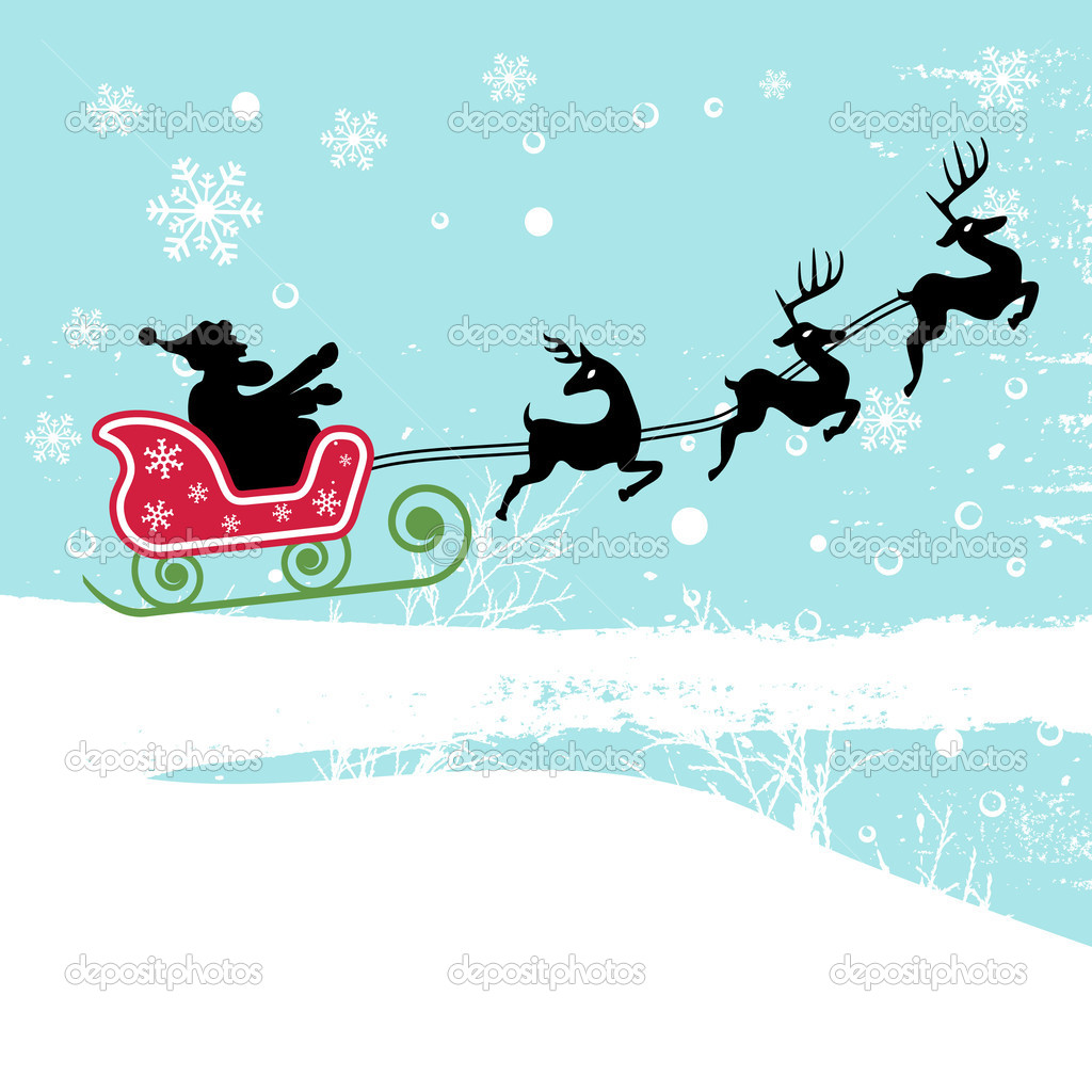 Santa claus with deer vector — Stock Vector #10439994