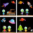 Alien cartoon set — Stock Vector