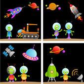 Alien cartoon set — Stock Vector