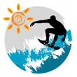 Surfing silhouette — Stock Vector