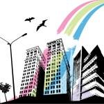 Rainbow city — Stock Vector #10660650