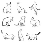 Dog, cat, rabbit animal drawing — Stock Vector