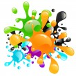 Colorful paint splashes — Stock Vector
