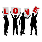 Peoples holding love message sign — Stock Vector