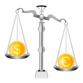 Pound and Euro on scales — Stock Vector