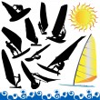 Stock Vector: Wind surfing