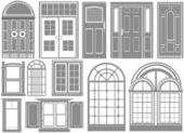 Door and window set — Stock Vector
