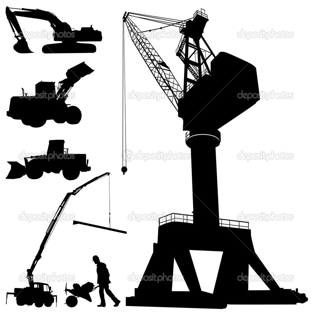 Construction machines stock illustration