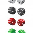 Dice set four color — Stock Vector