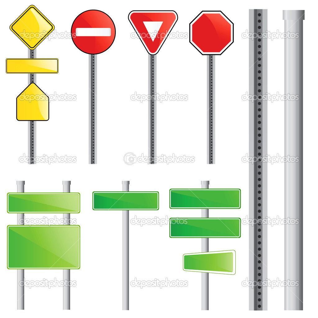 Traffic sign set vector — Stock Vector #8252312