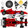 Formula car and objects - Stock Vector