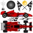 Formula car and objects - Imagen vectorial