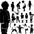 Children silhouette set — Stock Vector