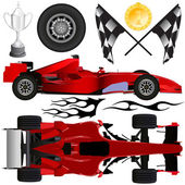 Formula car and objects — 图库矢量图片