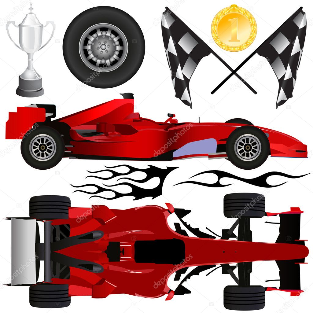 Formula car and objects vector — Stock Vector #8318255
