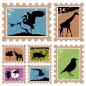 Animal stamps — Stock Vector
