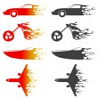 Stock Vector: Fire vehicles set