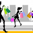 Stock Vector: Shopping woman in the city