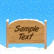 Stock Vector: Wooden sign with snow effect